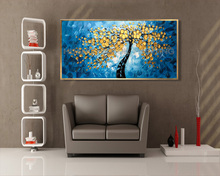 Knife Hand-painted Blue Background Oil Painting Gold Flower Tree Scenery