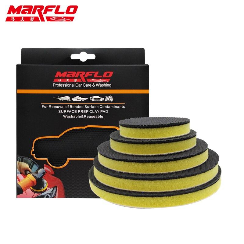MARFLO Car Washing Fine Grade Magic Clay  Bar Pad Cleaning  Paint Before Car Polish Sponge Wax 6 5 4 3 Inch