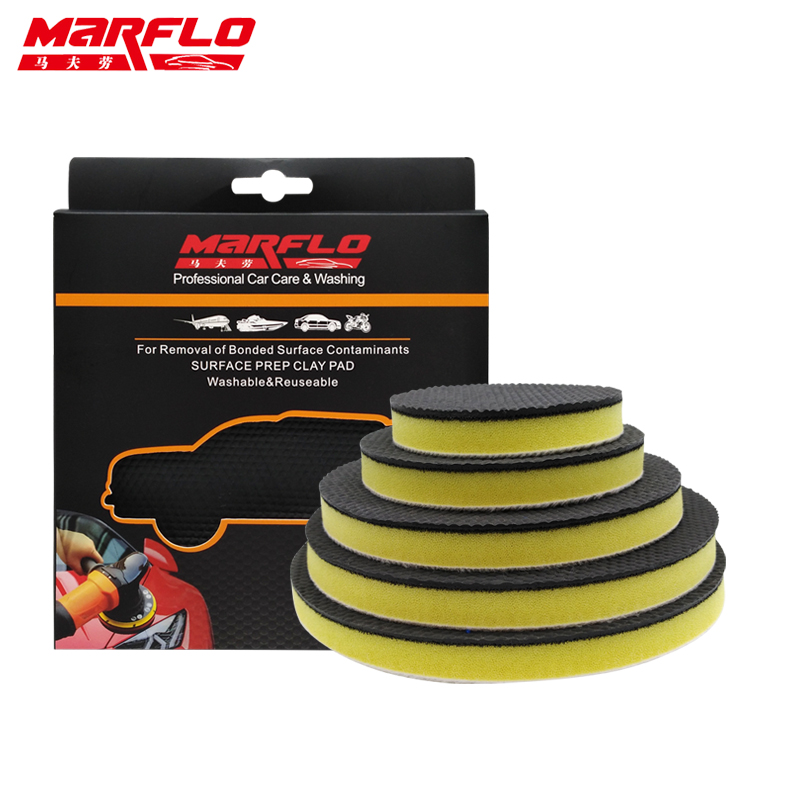 MARFLO Car Wash Fine Grade Magic Clay Pad Bar Clean Paint before Sponge Polishing Wax 6 5 4 3 inch