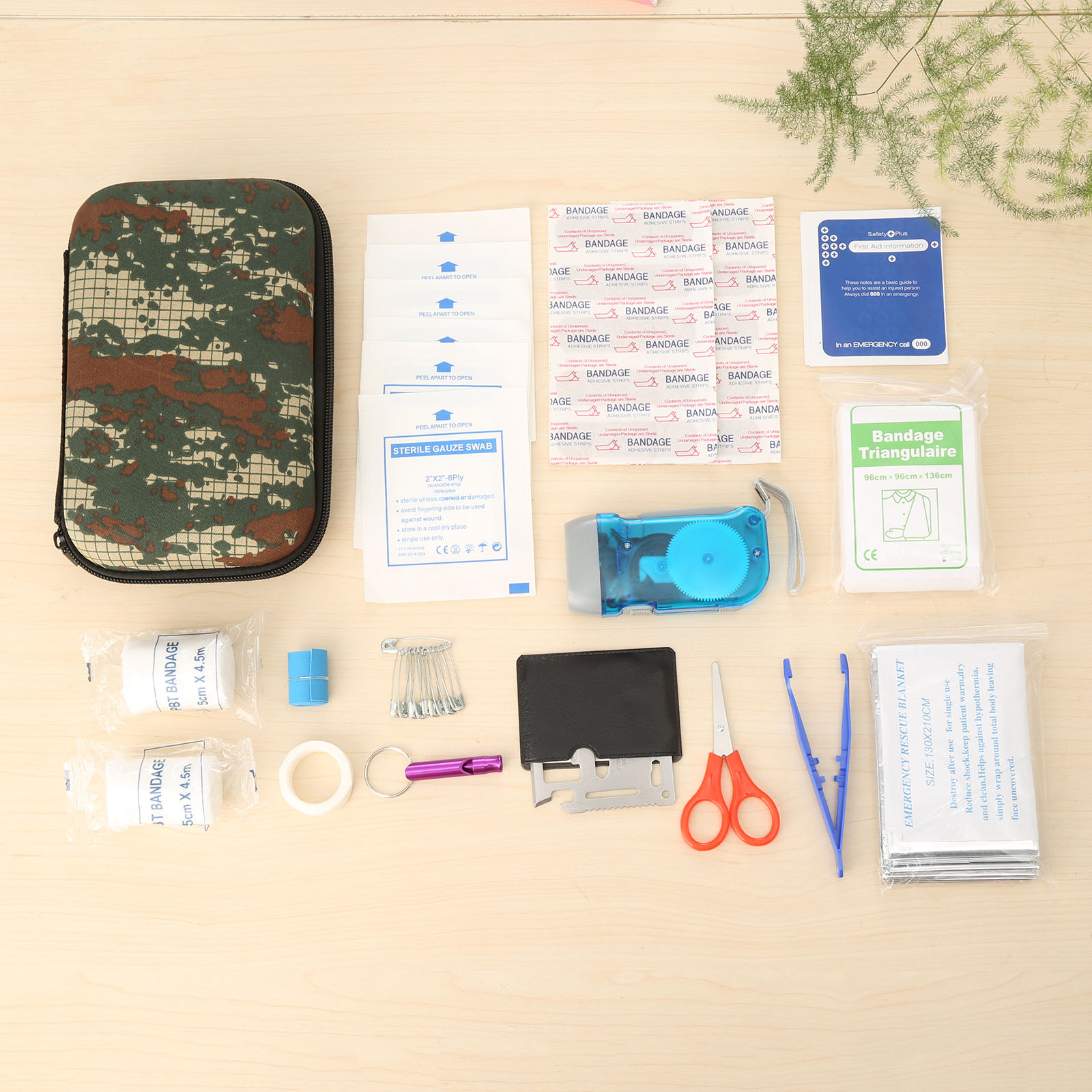 16Sets (39pcs) Camouflage Outdoor Travel/Car First Aid Kit Eva Bag Pouch Medical Emergency Survival Kits Portable Treatment Pack