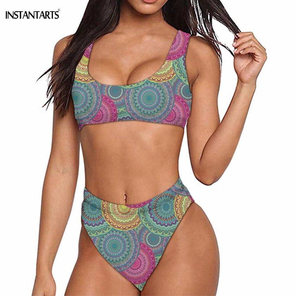 Women Floral Print Bohemian Swimwear High Waist Swimwear Bathing Suit New