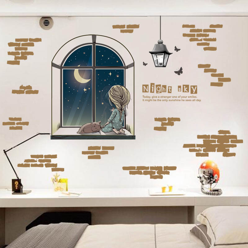 Out Window Night Sky Wall Sticker Decal Home Decor Living Room Bedroom DIY PVC Removable