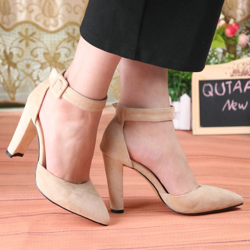 QUTAA Women Pumps Fashion Women Shoes Party Wedding Super Square High Heel Pointed Toe Red Wine Ladies Pumps Size 34-43 44