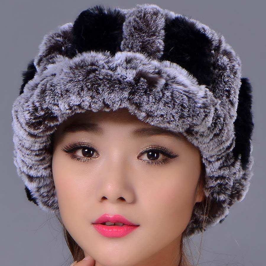 ФОТО 2016 Women Casual Striped Rex Rabbit Fur Hat Fur Ball Real  Warm Elastic  Hats Colors Winter  Lady Beanies Cap High Quality