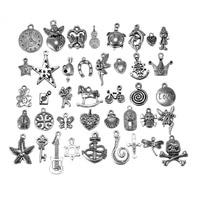 40Pcs Wholesale Bulk Tibetan Silver Mix Pedants Charms Bracelets Necklace Clothing