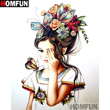 HOMFUN Full Square/Round Drill 5D DIY Diamond Painting Flower butterfly girl Embroidery Cross Stitch 3D Home Decor Gift A16253 homfun full square round drill 5d diy diamond painting cartoon girl flower embroidery cross stitch 3d home decor gift a01611