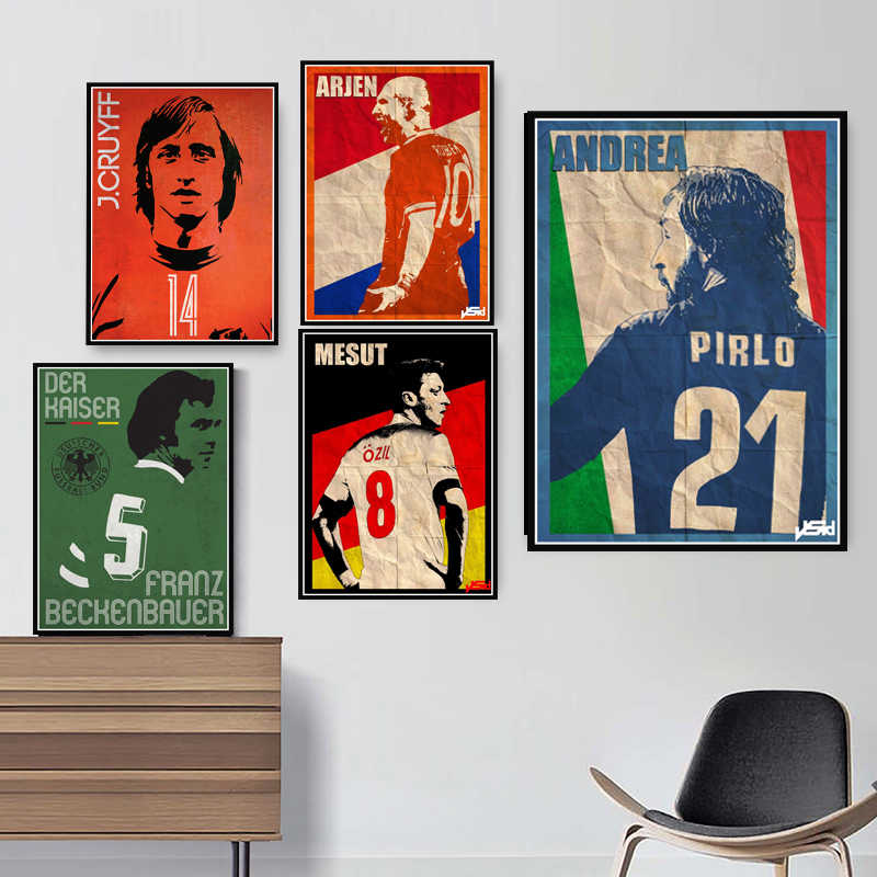 Robben Cruyff Beckenbauer Ronaldinho Poster Retro Football Star Posters and Prints Canvas Painting Wall Art Room Home Decor