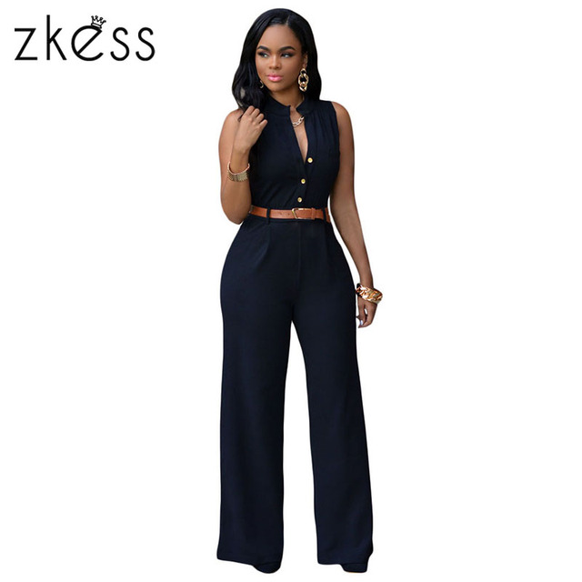 93845da65661 ZKESS Top Selling 7 Colors Rompers 2017 Summer Overalls Sleeveless Belted Wide  Leg Playsuits long Jumpsuit for women LC60932
