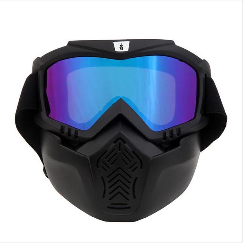 Motocross Motorcycle Goggles Glasses Modular Mask Detachable Paintball Half Face Helmet Glasses Mask Cycling skiing