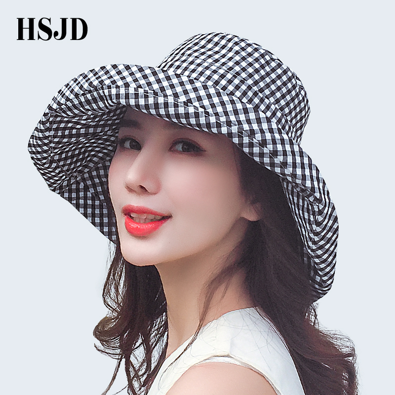2018 Summer Women Plaid Sun Hat Female Summer Big Wide Brim Cotton Anti-UV Beach Sun Floppy Hats Flat Caps Bob Chapeau Gorras