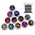 12 botellas/set Nail Ronda Glitter Mixta 1/2/3mm Ronda Ultrafino Lentejuelas Nail Art Decoración Colores profundos Para DIY Accesorios C12