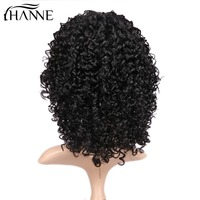 HANNE Hair Black Short Kinky Curly Wig Human Afro Wigs For Black Women Wig With Bangs For African Women Fluffy Wavy