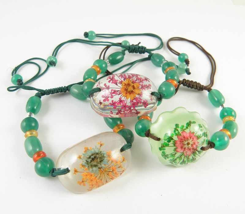 Bunga Nyata Dalam Resin Amber Gelang Wanita Gadis Buatan Manusia Amber Bunga Gelang Hadiah