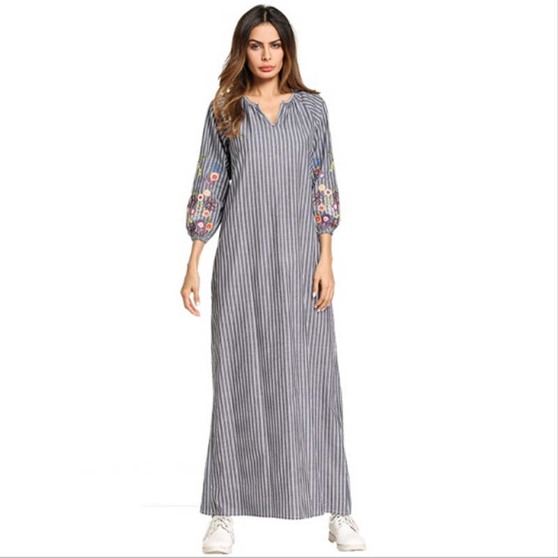 Casual Embroidery Maxi Dress Muslim Abaya Kimono Stripe Flounce Long Robe Gowns Loose Jubah Ramadan Middle East Islamic Clothing цена