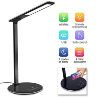 USB Rechargeable LED Desks Table Lamp Adjustable intensity QI Wireless Phone Charger Reading Study Light US/EU Plug