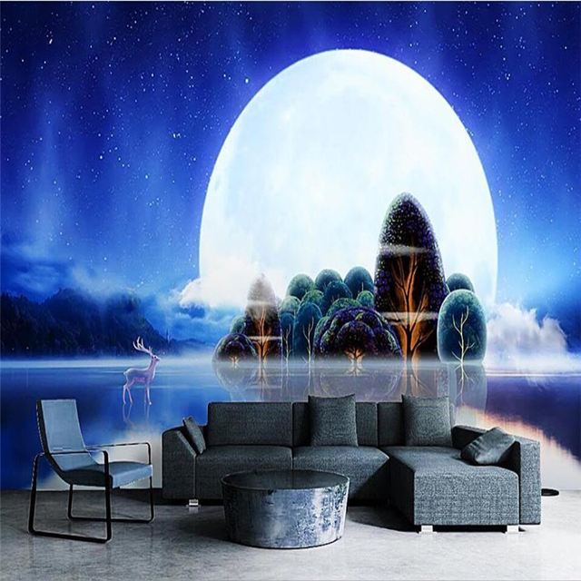 12298ff30 Beibehang papel دي parede رومانسية جميلة القمر الأزرق الغابات الغزلان الليل  المظلم فارغة جدار مخصص كبيرة