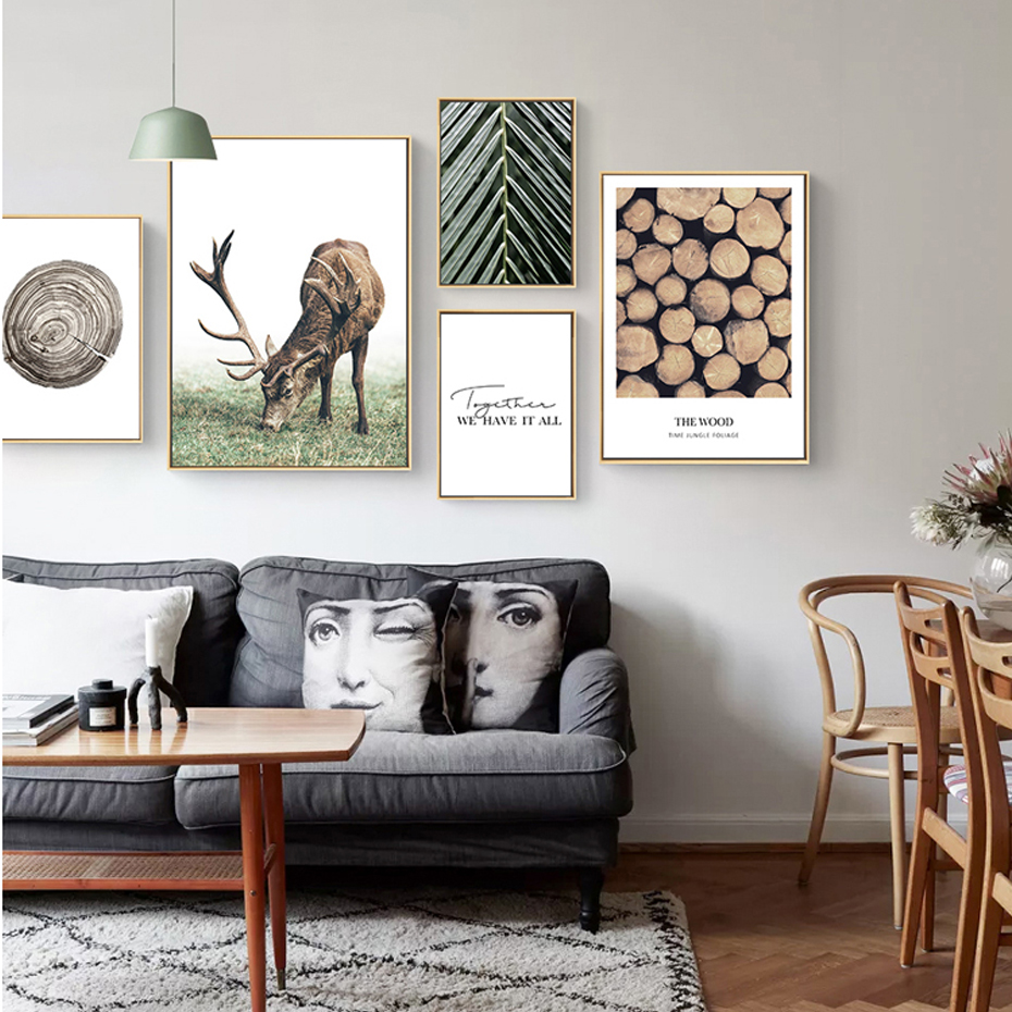 Us 1 7 10 Off Modern American Leaves Wood Elk Canvas Paintings We Have It All Quotes Picture Poster Wall Art Print Living Room Home Decoration In