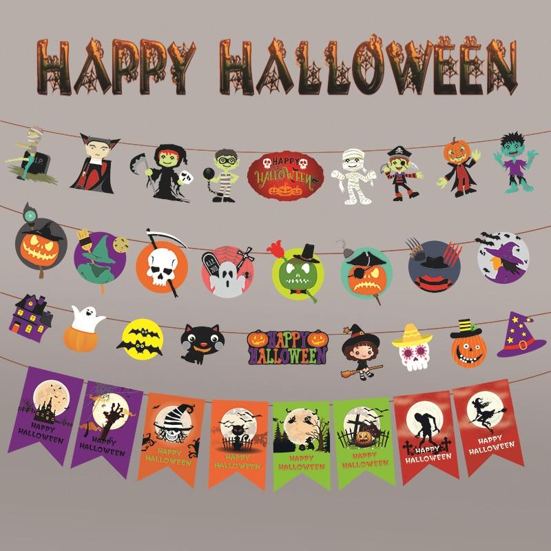 Halloween Decoration Hanging Flag Pumpkin Skeleton Bat Ghost Bunting Banners Paper Garland Prop Kids Halloween Party Supplies