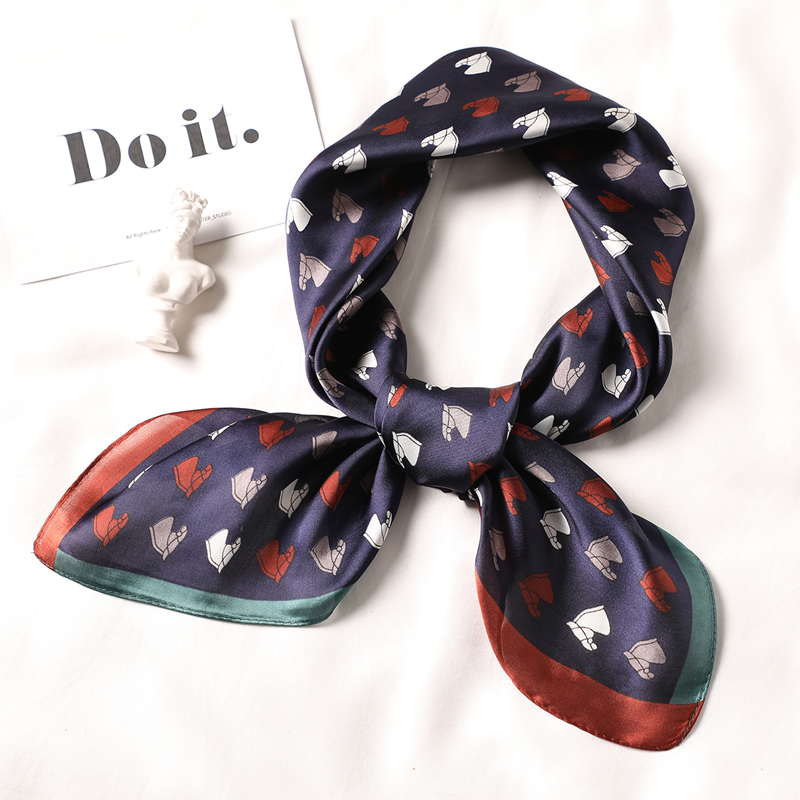 Square Women Silk Scarf Foulard Female Hair Neck Scarfs Horse Animal Print Small Office Neckerchief Scarves Fashion Head Shawl