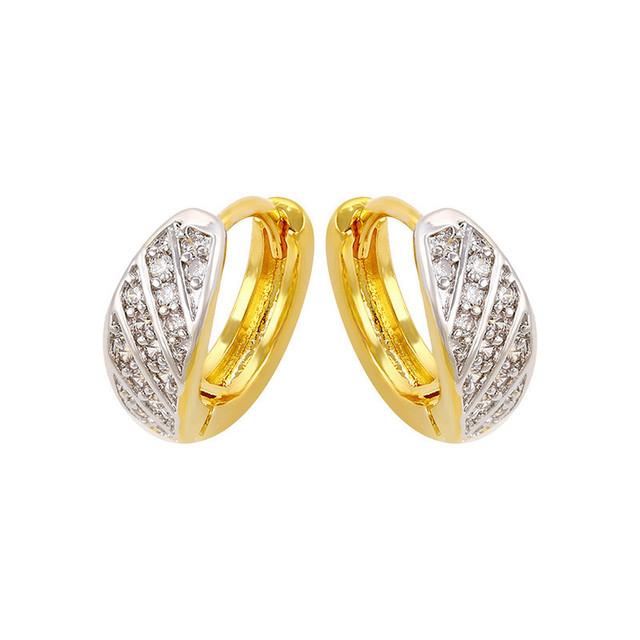 Oro/Blanco Plateado Bling Rhinestone Crystal Hoop Pendientes Mujeres Regalo Nuevo para Mujer Más Nuevo Pendientes de La Manera