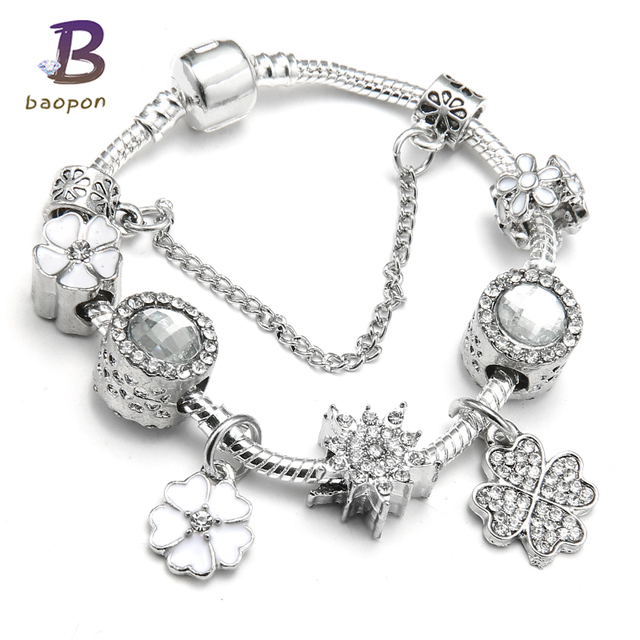 Spring Collection European Charm Bracelet Luxury Brand Crystal Beads Snake Chain Pandora Bracelets Mother S Day Gift
