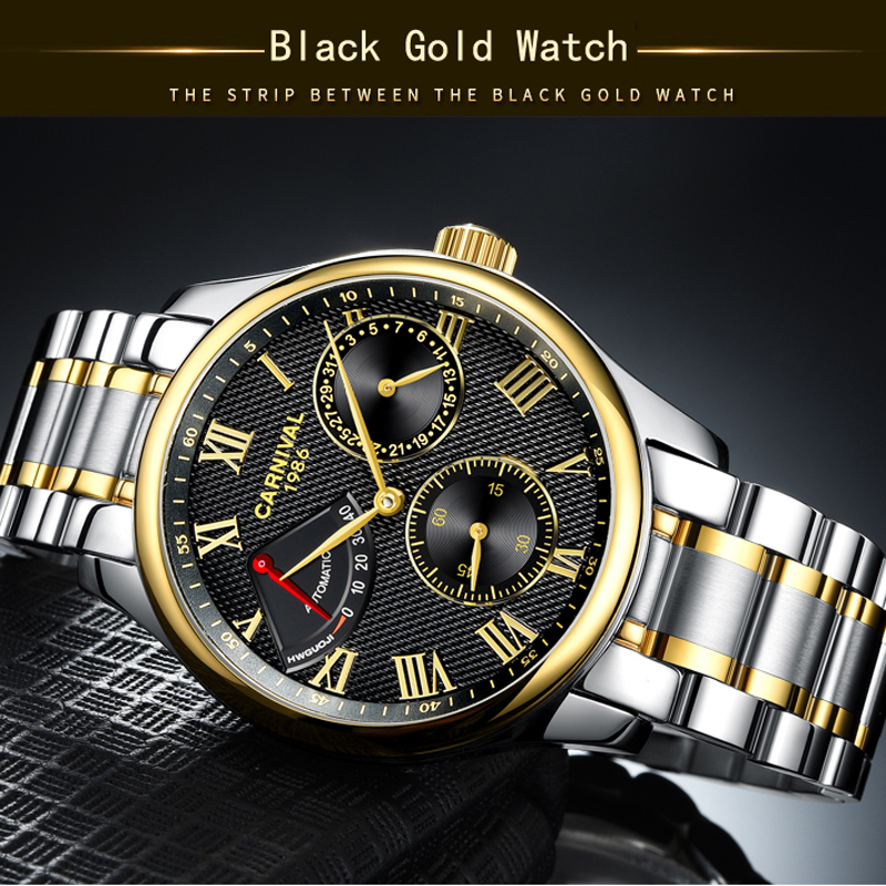 Image 4 - Seiko Automatic Movement Carnival Top Brand Luxury Men Mechanical Watch relogio masculino Clock Stainless Steel Strap Men Watch-in Mechanical Watches from Watches