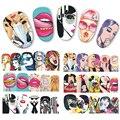 1 hoja de Pop Art Sticker Transferencia de Agua Nail Art Stickers Sexy Labios de Mujer Uñas Decoraciones Consejos Cuidado de Uñas Calcomanías BN385-396