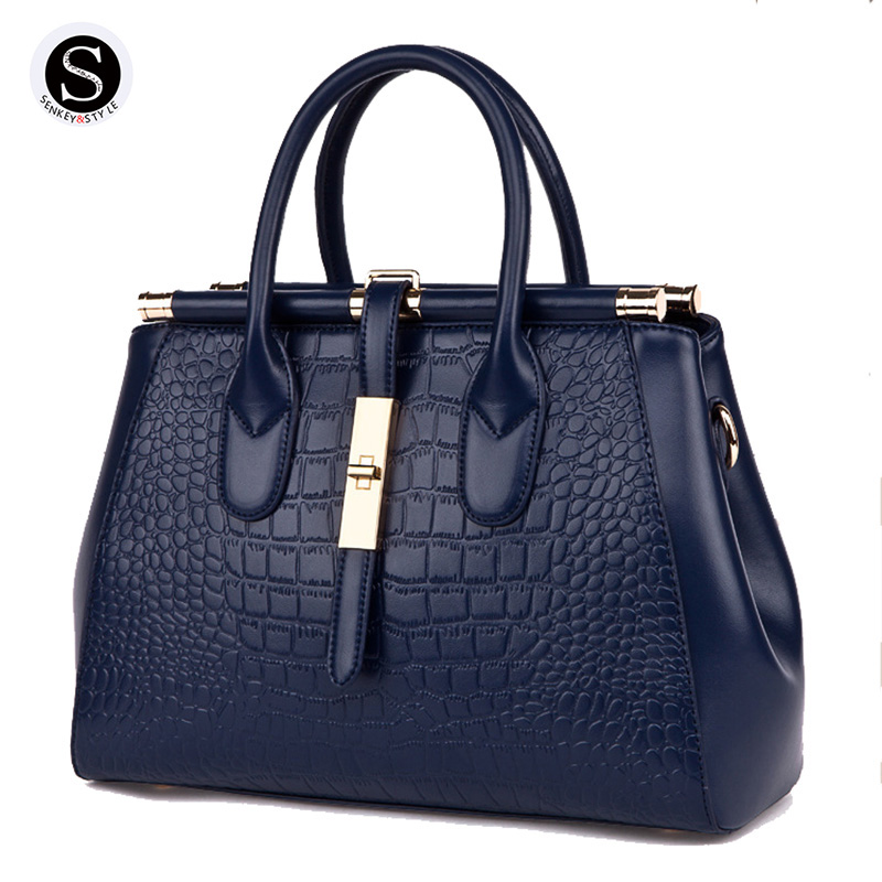 цена Senkey Style 2017 Genuine Leather Bags For Women Alligator Crocodile Pattern Luxury Handbags Women Bags Designer Famous Brands