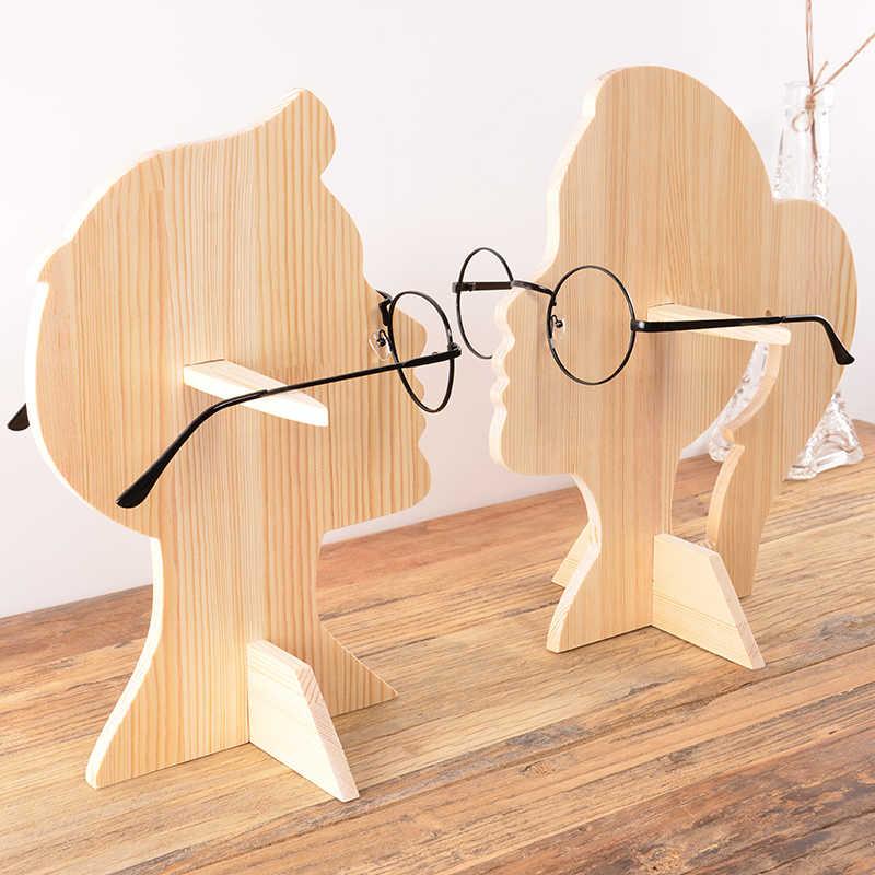 деревянная голова дизайн подставки очки дисплей футляр для