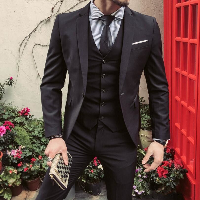 Men Suit Jacket+Pant+vest Mens Regular Slim Fit Wedding Groom Suits Set Male Casual Black Business Tuxedo Party Suit Men