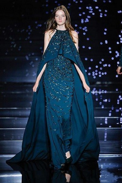 82b2a838183 Stunning Zuhair Murad Evening Dresses with Capes Sparkle Dubai Prom Dress  with Stones Latest Party Gown Designs for Sale
