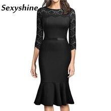 Elegant Evening Party Dress Women Elegant Embroidery Sexy See Through Lace PatchWork Business Formal OL Slim Vestidos Midi Dress