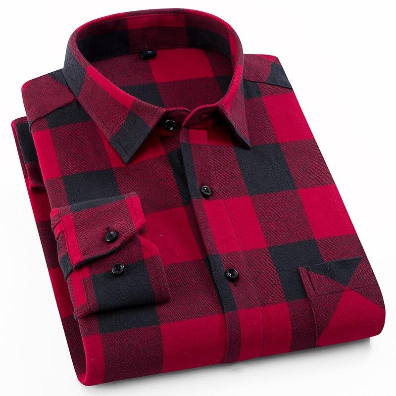 Männer der 100% Baumwolle Casual Plaid Shirts Tasche Langarm Slim Fit Komfortable Gebürstet Flanell Hemd Freizeit Stile Tops Shirt