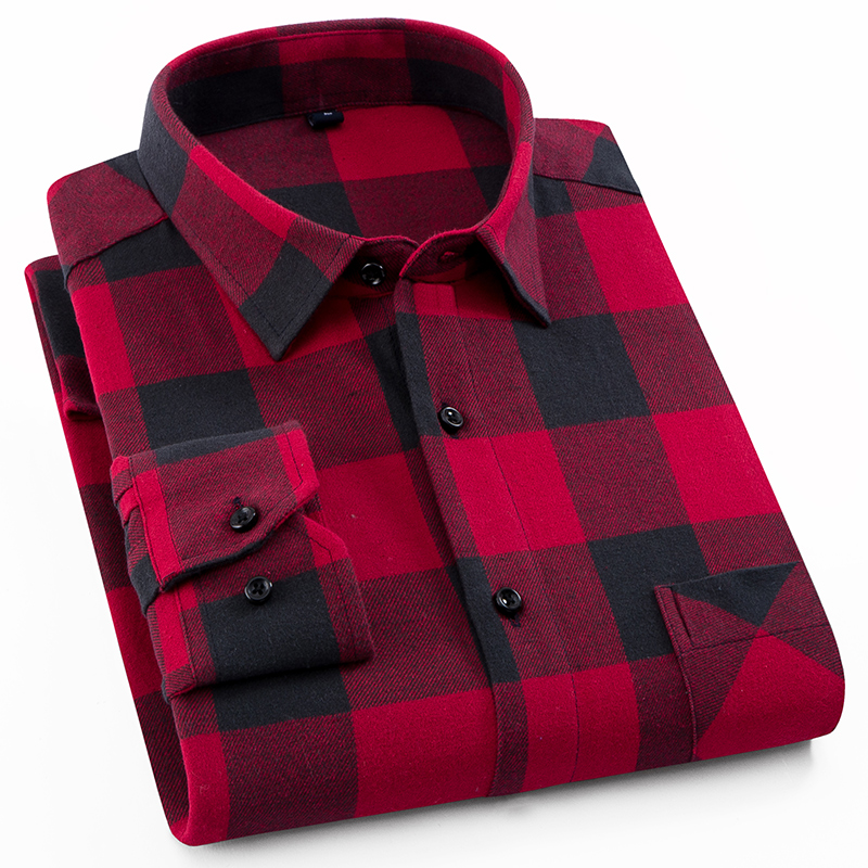 Men's Fashion Outdoor Plaid Brushed Flannel Shirts Single Pocket Long Sleeve Slim-fit Youthful Casual Checkered Cotton Shirt