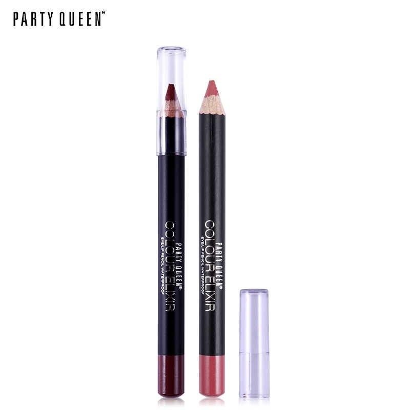 Party Queen Marke 20 Farbe Lip Liner Eye liner Bleistift Wasserdicht Matte Lipliner Stift Long Lasting Nude Make-Up-Set Kosmetik werkzeuge