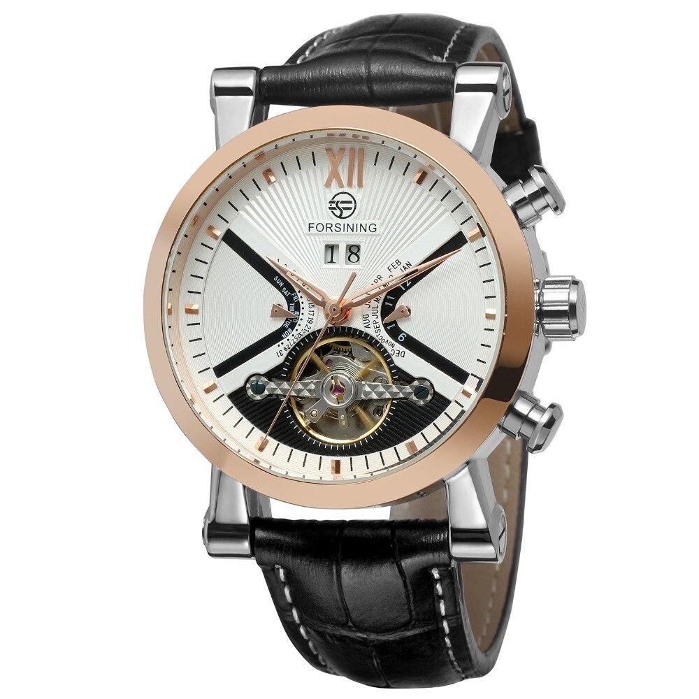 elegante importação marca autoamtic turbilhão calendário relógio de pulso clássico cor preto