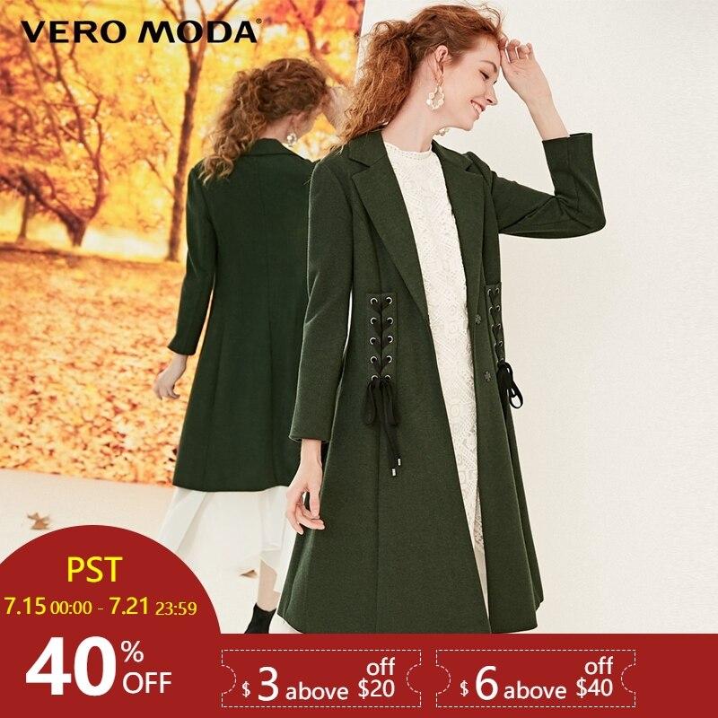 Vero Moda Women's Waist Belt 3D Tailoring Slim Fit Wind Coat   Trench   Coat | 318333501