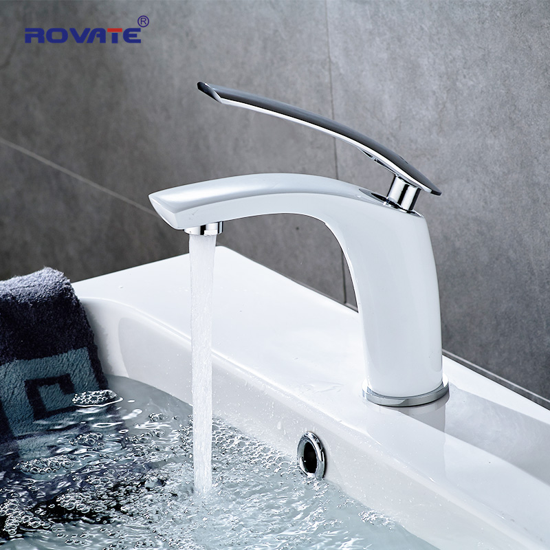 ROVATE Basin Faucet White Single Holder Single Hole Mounted Sink Taps Cold and Hot Mixer for