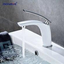 Rovate torneira da bacia branco único titular único furo montado pia torneiras misturador quente e fria para banheiro bacia