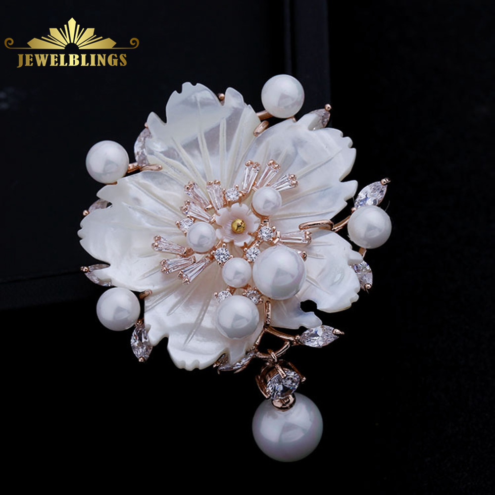 Stunning Vintage White Mother of Pearl Flower Brooches CZ Marquise Rose Gold Tone Pistil Plum Blossom Sakura Pins Broach Jewelry