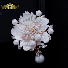 Circle Design Fabulous Clear CZ Leaf & Pink Shell Flower Brooch Pins in Silver Tone Pearls Deco Wedding Bridal Broach for Women fabulous short tassel drops double yellow bird brooches silver tone micro pave cz green eyes two love birds pins for girlfriend