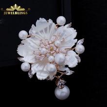 Superbe Vintage blanc nacre fleur broches CZ Marquise or Rose ton Pistil fleur de prunier Sakura broches broche bijoux