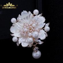 Visual deslumbrante mãe branca de pérola flor broches cz marquise rose banhado pistilo a ouro flor de ameixa floral pinos jóia do vintage