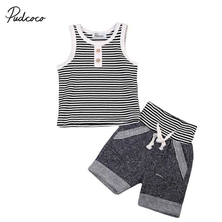 2 StÜcke Baby Jungen Kinder Kleidung Set Beiläufiger Bügel T-shirt Top Sleeveless Weste Shorts Sommer Outfits Set Kleidung Baby Jungen Neueste Mode