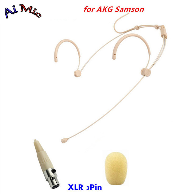US $23 6 |Beige Hidden Headset Microphone Condenser Transmitter Fine Stand  Microfone with Mini XLR 3pin for AKG Samson Wireless System-in Microphones