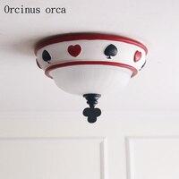 Американская современная сказочная потолочная лампа для детской комнаты для мальчиков, спальни, креативные персональные игральные карты,