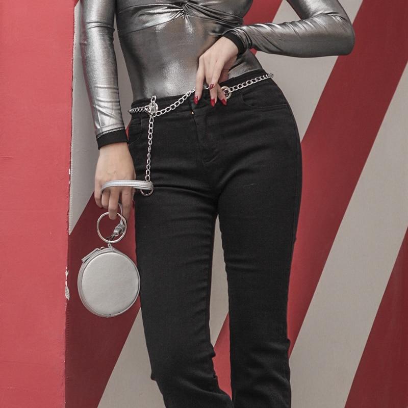 Spring Nero Decorazione Cotone Tipo Slim Moda Vita Progettato Elasticizzato lunghezza Vitello Catena Donna Pantaloni Il Di Tessuto Bassa 2018 Ud7qzU
