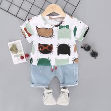2019 nowy letni kostium dla dzieci moda nadruk kreskówkowy dla niemowląt chłopcy i dziewczęta zestawy ubrań bawełna 0-2Y zestawy ubrań dla chłopców dziewcząt tanie tanio baby Aktywny COTTON Czesankowej Unisex Krótki Stałe Skręcić w dół kołnierz Swetry REGULAR 2018 Kurtki Pasuje prawda na wymiar weź swój normalny rozmiar