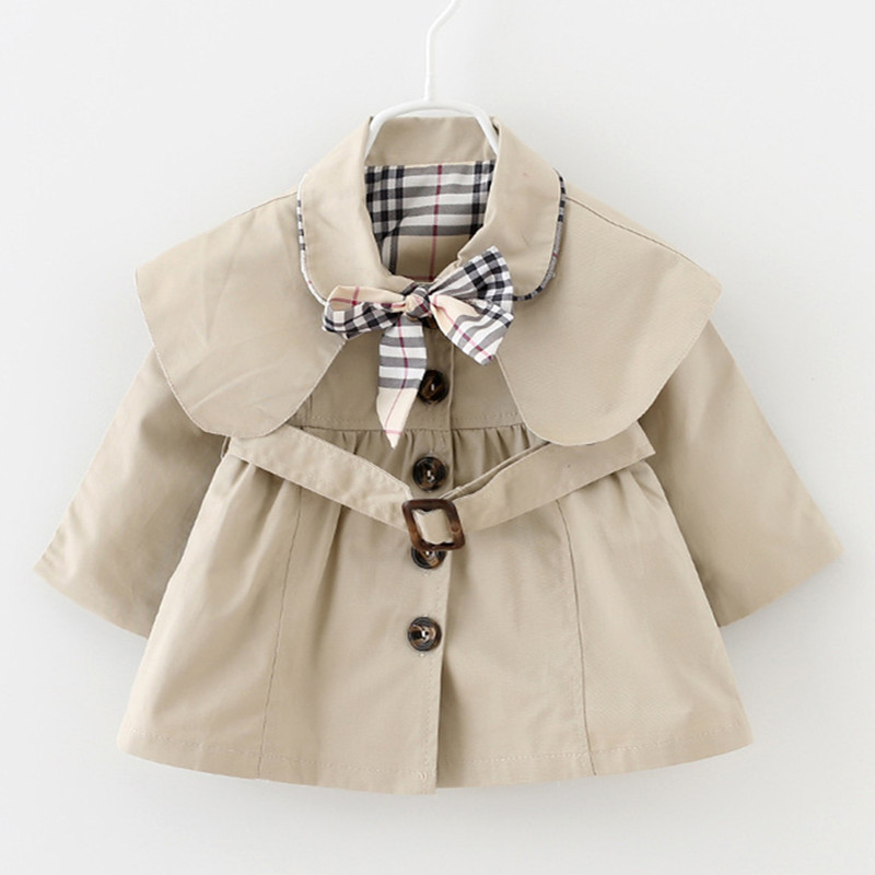 Spring Children Clothes Little Baby Girls Trench Solid Bowknot England Style Windbreaker Kids Casual Coat Fashion