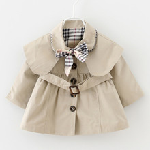 Spring Children Clothes Little Baby Girls Trench Solid Bowknot England Style Windbreaker Kids Casual Coat Fashion Jacket 062